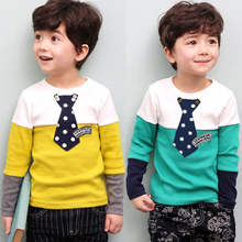 Kids boys new color patchwork pullover Tops 2015 children boys casual long sleeves necktie T-shirt 2-7 years !(China (Mainland))