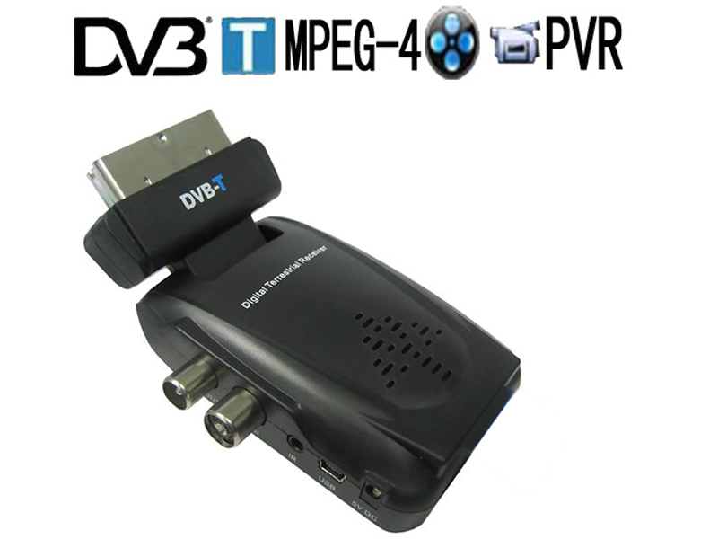 High quality Mini Scart Terrestrial Receiver Tv Tuner Dvb-t Freeview Receiver support SD MPEG-4/H.264(China (Mainland))