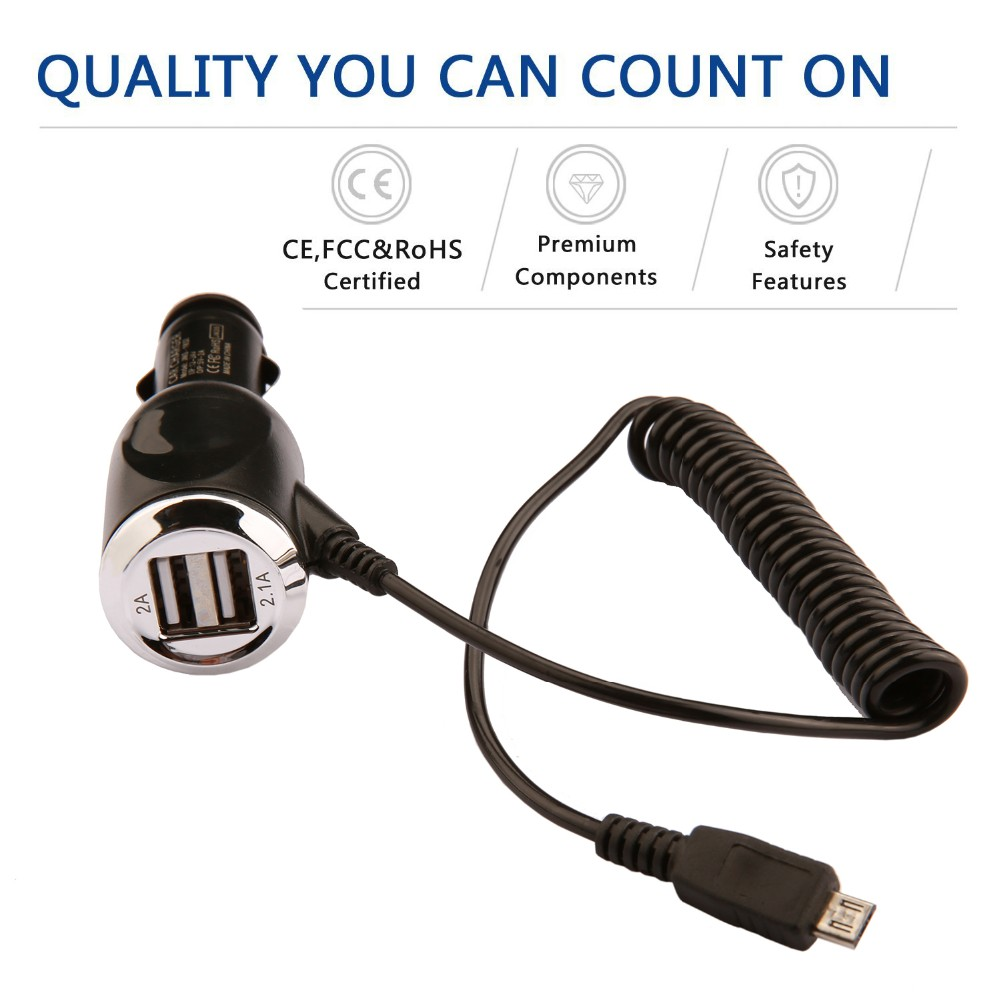 2 Dual USB Port with one Micro connector PC + ABS fireproofing materia Car Cigarette Charger Adapter For SmartPhone Phone PDA