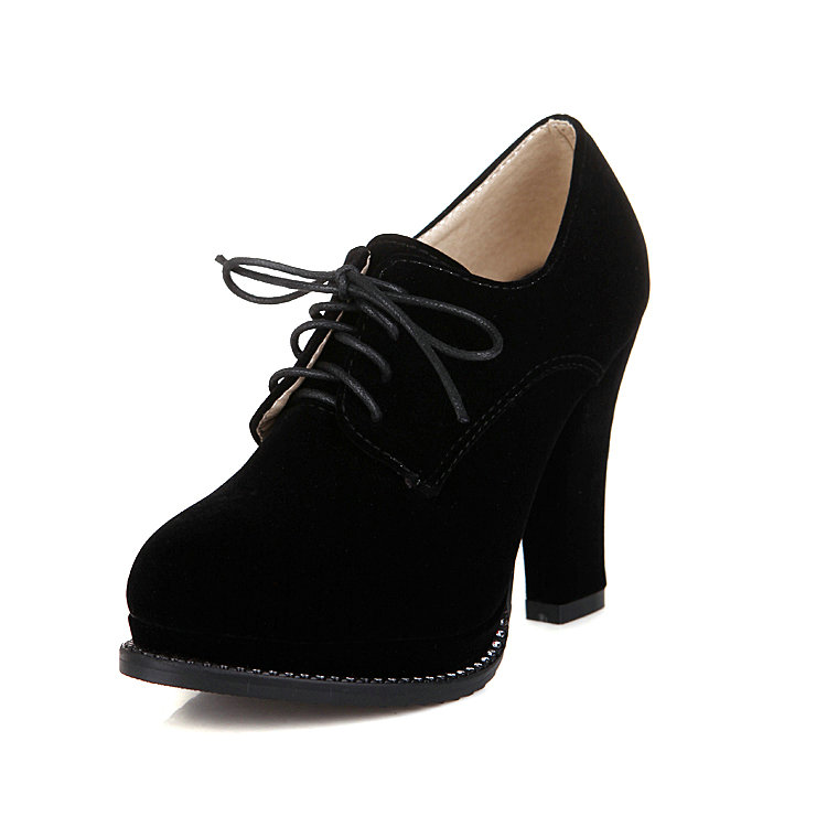 Big size 11 12 Spring Women Shoes Western Style Thick High Heel Round Toe Woman Pumps Sexy Lady Flock Lace Up Platform Shoes(China (Mainland))