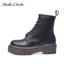 Nụ cười Kích Thước Vòng Tròn 35-42 Phẳng Nền Tảng Giày Nữ Giày Nữ Thu Đông Bộ Lông Mùa Đông Thời Trang Giày Mũi Tròn cột dây giày da N(China)