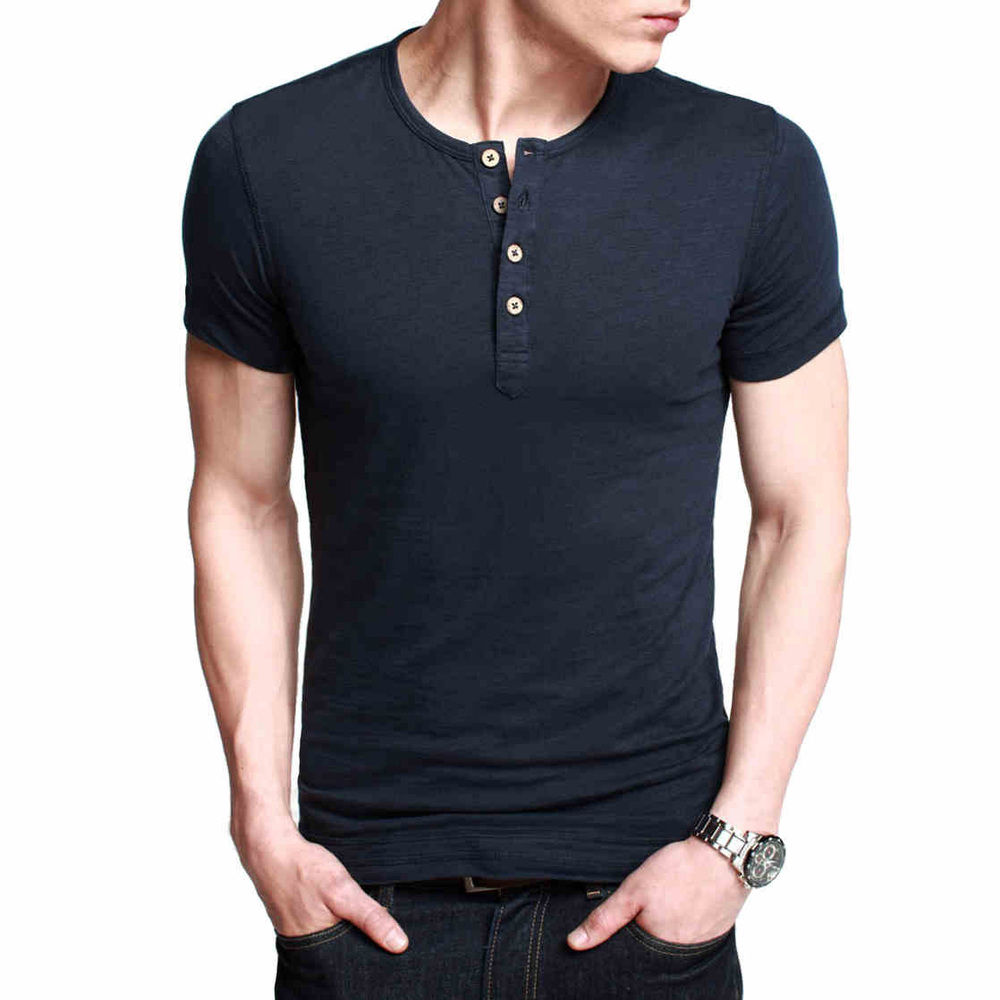 Men 39 s basic tee short sleeve henley shirt men slim fit for Mens collared henley shirt