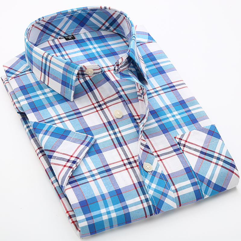 Fashion Summer Style Men Plaid Shirt Short Sleeve Cotton Boys Male Slim Fit Casual Shirt Beach Holiday British Plus Size 4XL(China (Mainland))