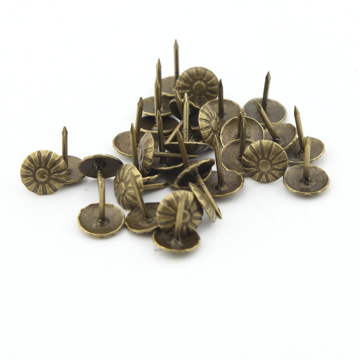 Гаджет  100pcs 10mmx14mm  Antique Bronze Chrysanthemum nails Pushpin Doornail Deco Tack Upholstery Nail Drum Nail Thumbtack Drawing Pin None Аппаратные средства