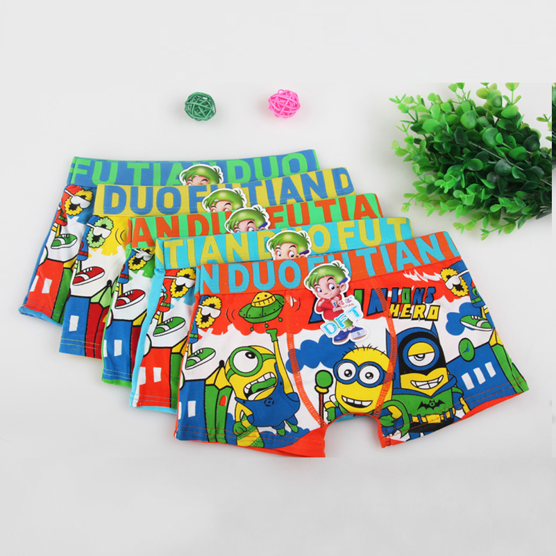 3pcs/lot lovely cartoon minions Children's underwear kids boy underwear briefs panties for girls boy boxers shorts for 3-11T(China (Mainland))