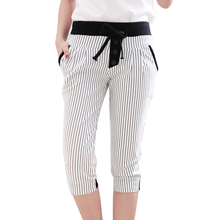 Hot Sale Women's Capris Plus Size S-2XL Summer Women's Pants Slim Striped Plaid  Leggings Casual Harem Pants cal?a feminina(China (Mainland))