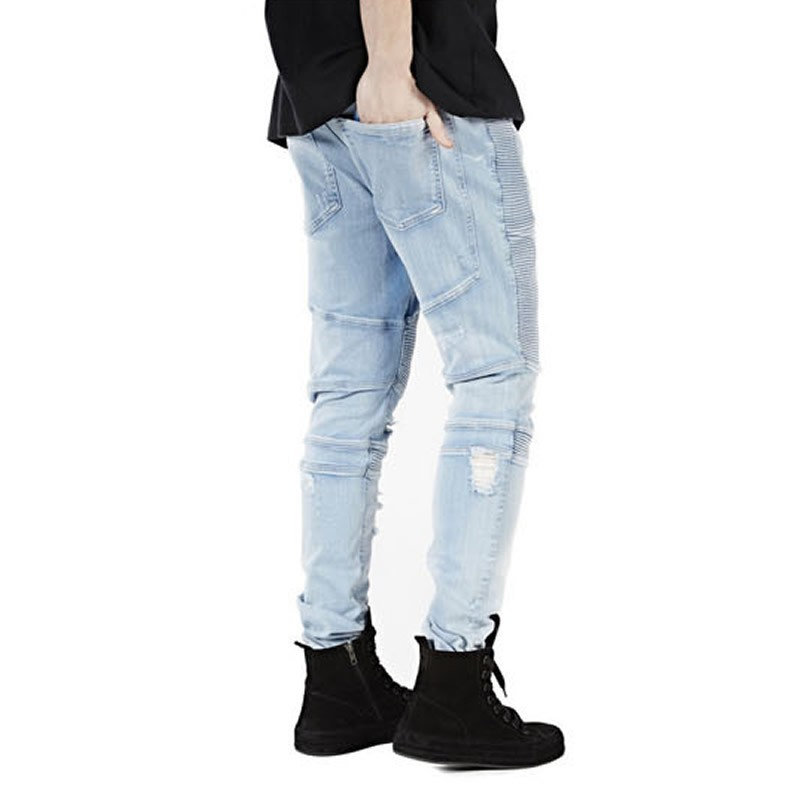 2016 Men's Hip-hop Brand Jeans Mens Denim Distressed Masculina Men's Slim Long Pants Rock Ripped Biker Jeans Homme Fear God
