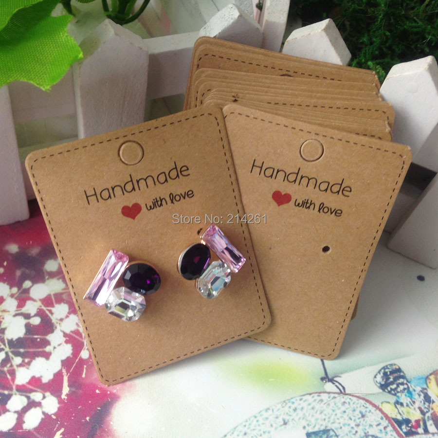 DIY Hand Made With Love Kraft Earring Card For 1 pair Earring Display Custom Logo moq : 1000 pcs Cost Extra Wholesale(China (Mainland))