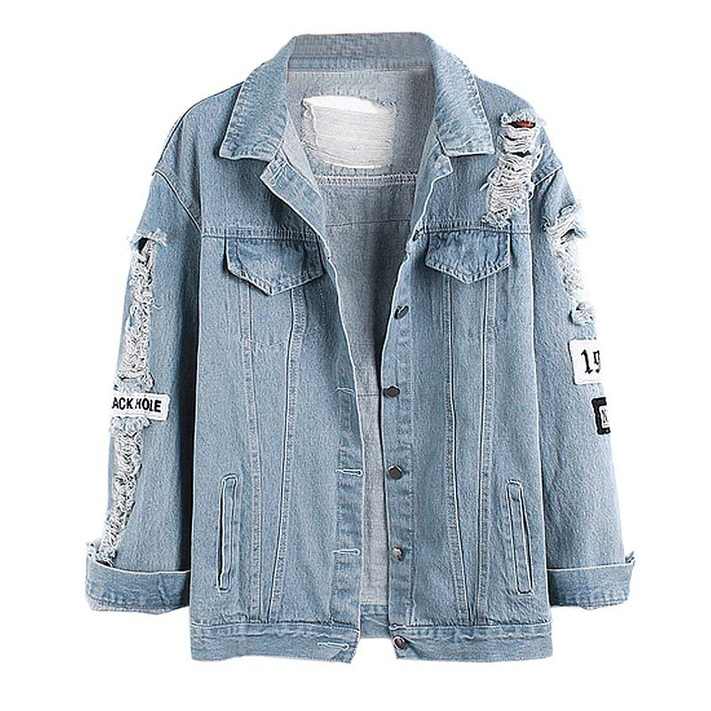New Fashion Letter Patch Ripped Pockets Denim Bomber Jacket Basic Coat Women Casual Summer Autumn Light Blue Clothes Wear(China (Mainland))