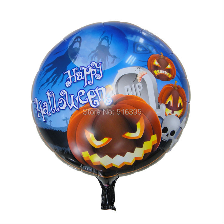 discounted 50pieces/lot Cartoon halloween inflatable pumpkin balloons for children(China (Mainland))