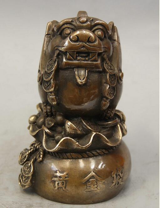 "Здесь можно купить     6"" Chinese Fengshui Copper Pi Xiu Beast Unicorn Money Bag Wealth Rich Statue   Дом и Сад"