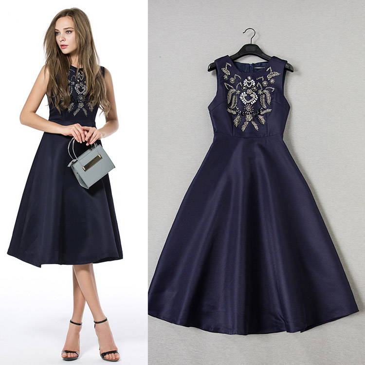 2015 spring and summer fashion womens handmade beading high quality formal dress sleeveless one-piece dress femaleОдежда и ак�е��уары<br><br><br>Aliexpress