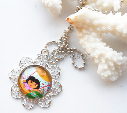 new arrival product !!! carton design dora character !!! lace cup pendant !!! kids chain necklace 10pcs/lot for party favor(China (Mainland))
