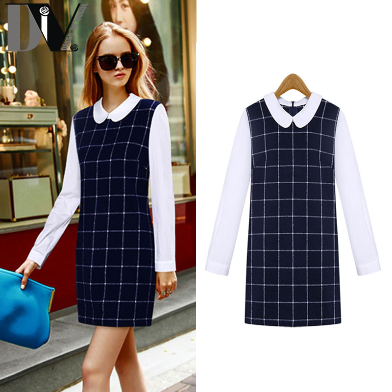 DIV Brand New Women Patchwork Straight Dress Fake Two Pieces Turn-down Collar Full Sleeve Plaid Broadcloth Vestido Size S-XL(China (Mainland))