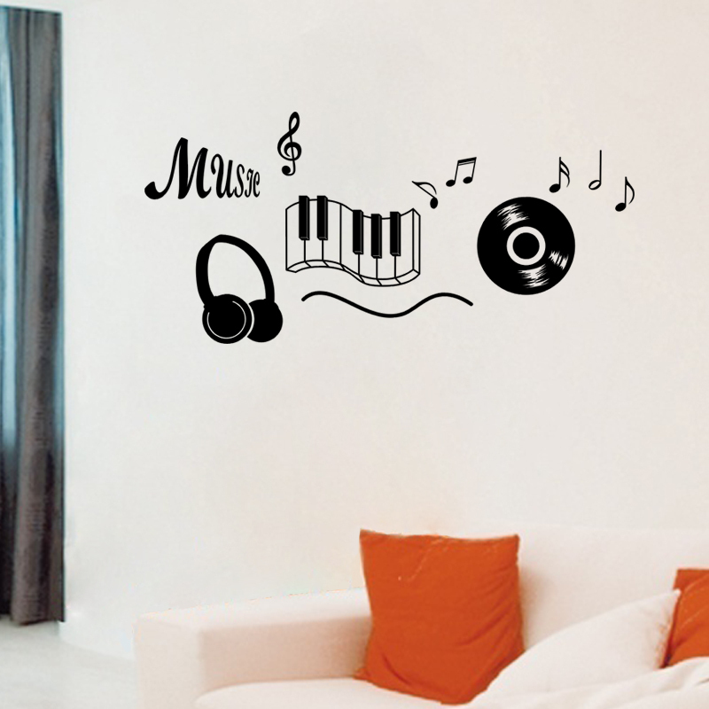 Wall Decor Music Theme : Aliexpress buy music headphones theme bedroom