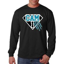 "Cam Newton Carolina ""Superman"" Jersey CREW Men t-shirt Man casual sport Long sleeve football t shirts Size 100% cotton(China (Mainland))"