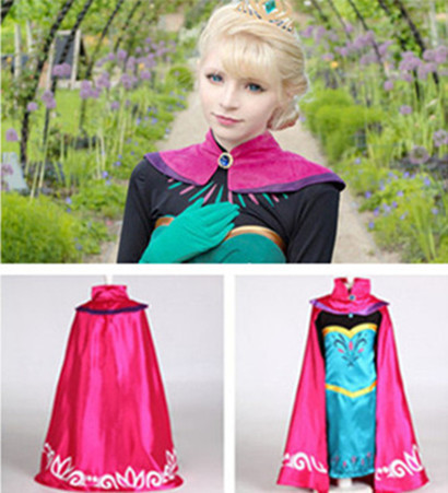 Queen dress Elsa cosplay costume Christmas carnival Kids costume Princess dress girls Elsa coronation XXS-XXL dress with cape(China (Mainland))