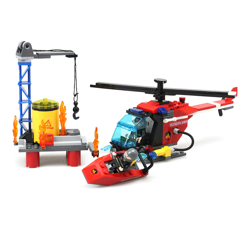 Fire Sea Rescue Series Model Building Kits Ship Helicopter Model Enlightening Toys Gift For Children DIY Assembly Blocks(China (Mainland))