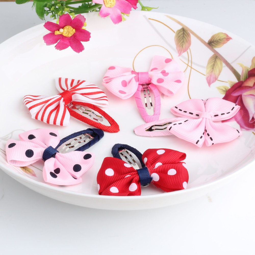 1lot=2pcs Baby Bow Hair pin Baby Girls Hair Ornaments Children Accessories Ribbon Bowknot Barrettes Dot Hair Clip Hairpins(China (Mainland))