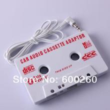 1Pc New White Car Cassette Tape Adapter Player for MD/nano/CD/video/iPod/MP #9541(China (Mainland))