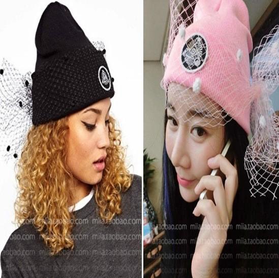Супермодель завеса улица оснастки чистой пряжа трикотаж кепка осень зима head шерсть трикотаж шляпа дамы женщины ретро сетчатая ткань шляпы