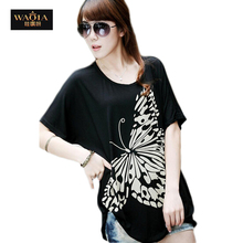 2015 new fashion plus size t shirt women clothing summer sexy tops tee clothes blouses t-shirts Butterfly Print Loose JU(China (Mainland))