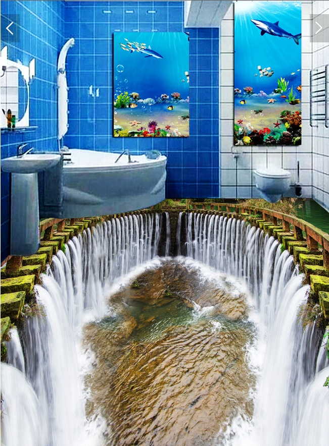3 d pvc flooring custom wall paper sticker The waterfall water pool 3d bathroom flooring paintings photo 3d wall mural wallpaper(China (Mainland))
