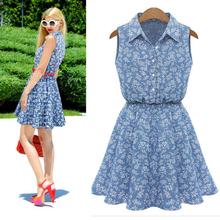 New design women lady Summer dress Fashion A-line Women Lady Lapel Sleeveless Casual Slim Denim Dress (China (Mainland))