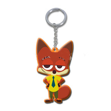 7CM Zootopia Judy Nick sloth Flash figure keychain toy set 2016 New Cartoon Animal Rabbit Judy Nick Fox lepard buffalo pendant(China (Mainland))