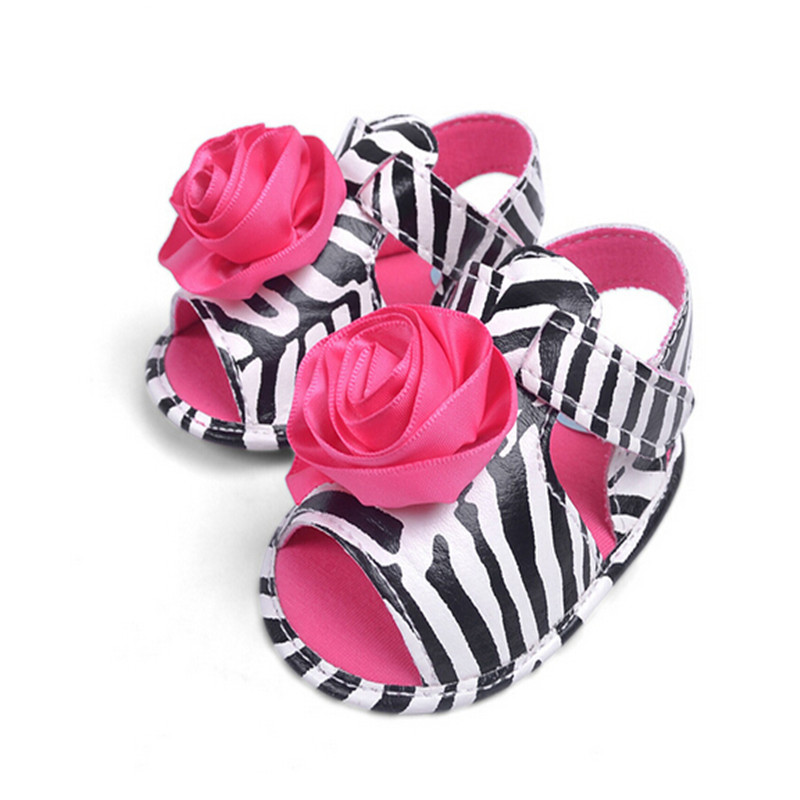 Red Flower Cute Zebra Stripes Bebe Sandales Toddler Infant Baby Girl Shoes Soft Sole Crib Shoe Baby First Walkers Summer Shoes(China (Mainland))