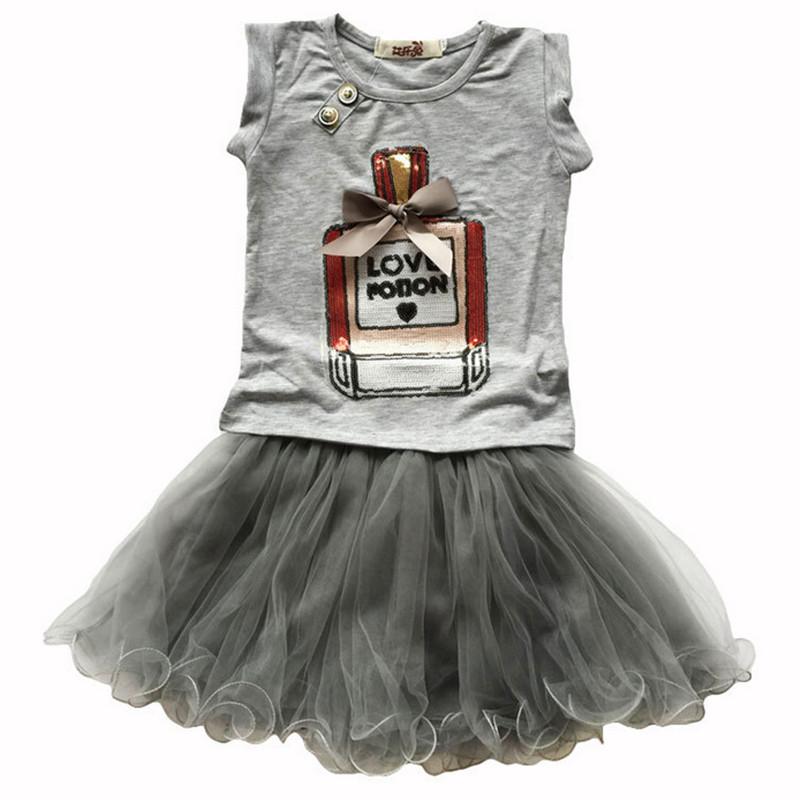 2016 summer new girls clothing sets kids bow elegant perfume bottles t-shirt + yarn skirt suits children clothes(China (Mainland))