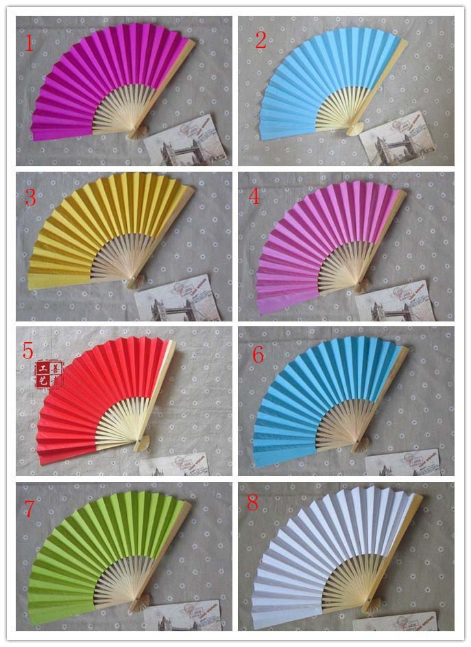 500PCS/LOT T Wedding Paper Fan,Bride Hand Fan with bamboo ribs,Craft Fan wedding bridal shower favor party gift free shipping(China (Mainland))