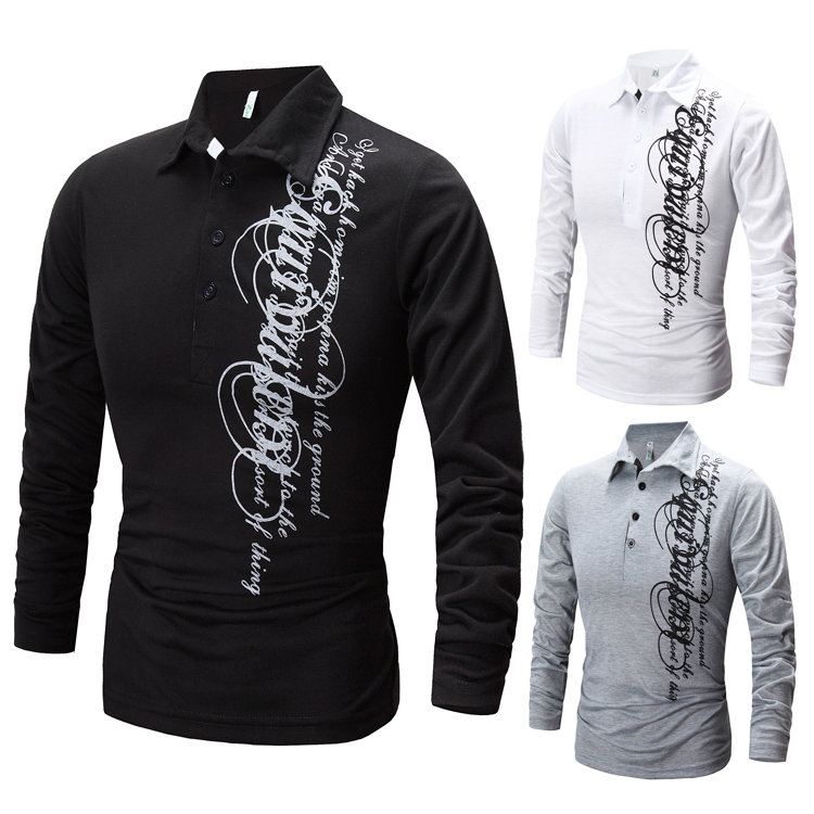 New Arrival Long Sleeve Fashion Man Polo Shirts Turn Down