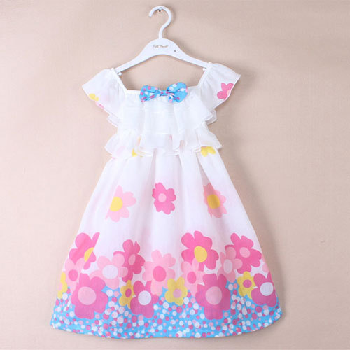 2015 summer girl kid princess flower tutu dresses for toddler girls clothing dress floral baby girl clothes for branded children(China (Mainland))