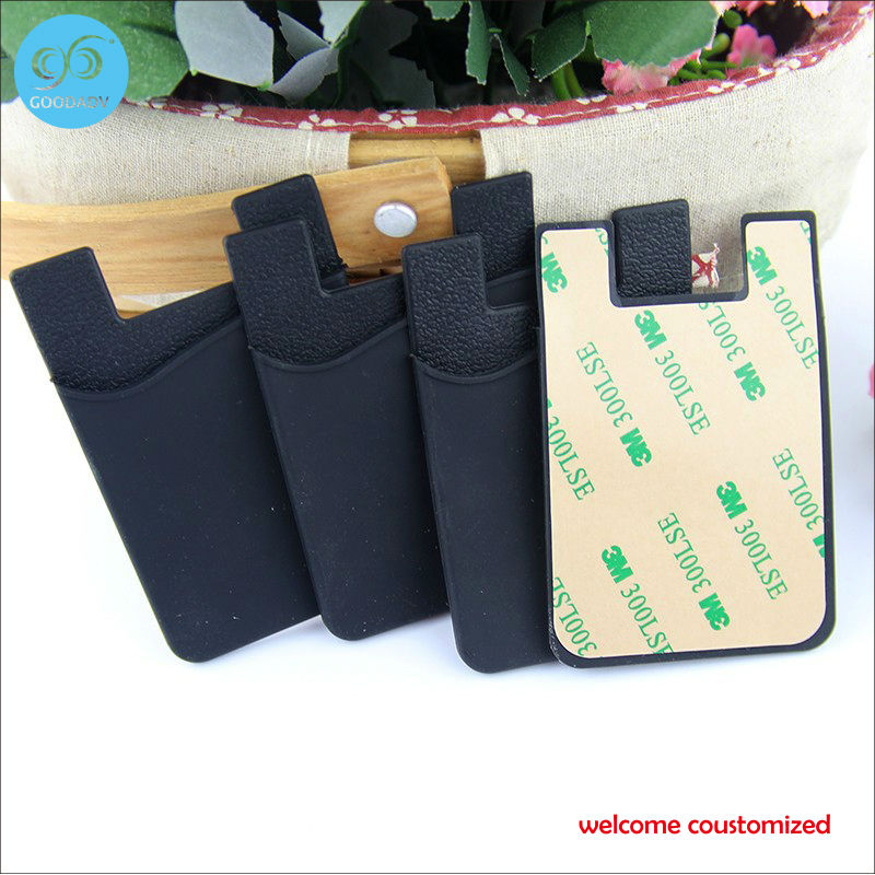 20 pieces/lot wholesale bulk eco friendly silicone card holder customized 3M sticky smartphone wallet free shipping(China (Mainland))