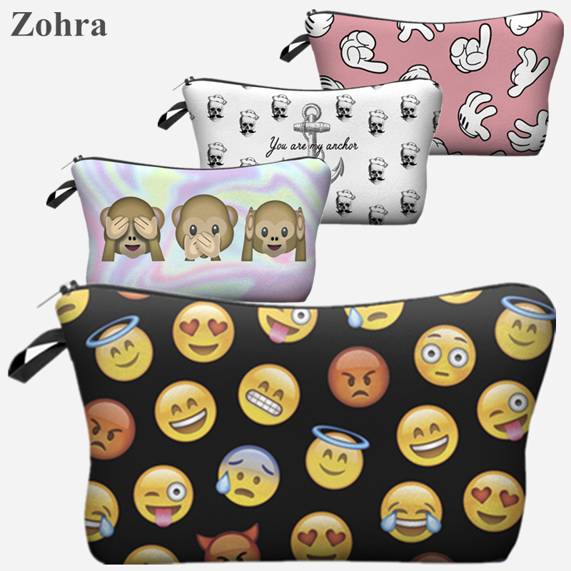 Women Emoji Portable Type Bags Make up organizer bag Cosmetics Bags Cases Storage travel pochette maquillage