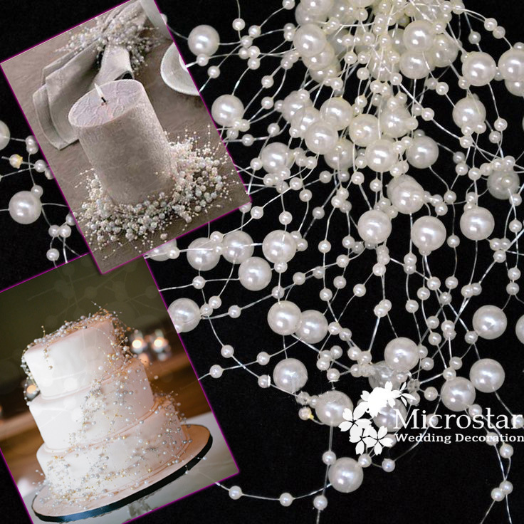 Wedding Pearl Beads Garland Decoration 10 Meters Ivory Centerpiece flower/table desk DIY Birthday Party Cake Deco(China (Mainland))
