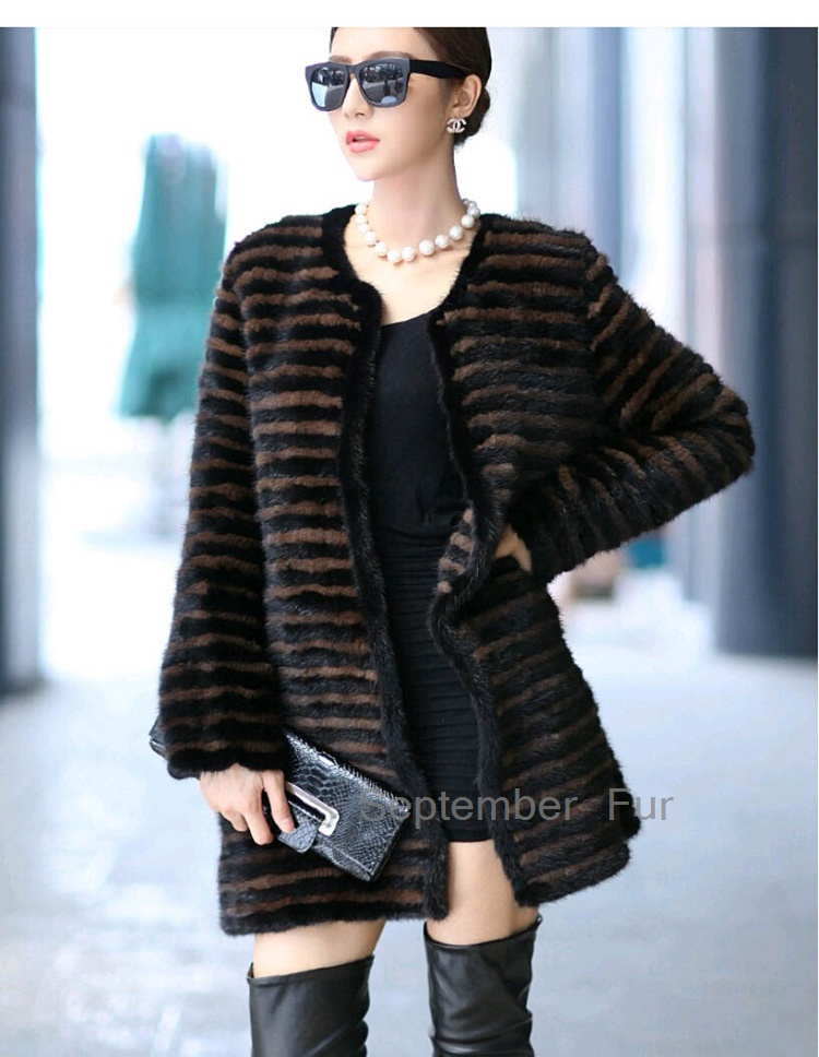Winter Women's Overcoat Real Knitted Mink Fur Coat Jacket O-Neck Black Brown Stripe Ladies' Fur Outerwear Middle long Overcoat