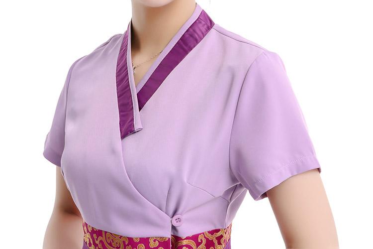 FREE SHIPPING 2015 Hot Summer Style Massage Technicians Plus Size Workwear Suits Elegant Purple Beautician Uniform