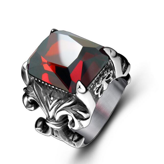 316L red zircon women 316L Stainless Steel Rings jewellery trendy Fashion Jewelry anel rock punk ring Wholesale MH5034(China (Mainland))