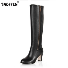 Buy Women Genuine Real Leather Knee Boots Winter Snow Boots Sexy High Heel Fashion Zipper Women Riding Boots Shoes Plus Size 30-45 for $58.89 in AliExpress store