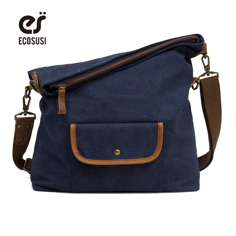 ECOSUSI Unisex Casual Hobo Canvas Cross Body Messenger Shoulder Bags Canvas Vintage Shoulder Bag Lady Crossbody Bags Hobo Bags(China (Mainland))