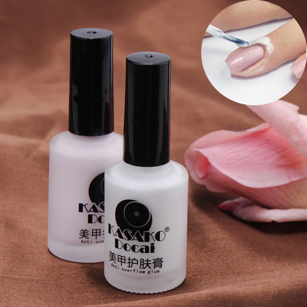 15ML Anti Overflow Glue Nail Care Cream Nail Art Gel Long Lasting Safe Eco-friendly No Smell Beauty Salon Makeup Cosmetic(China (Mainland))