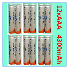 12Pcs/Lot Original Brand New NI-MH AAA HR03 3A Rechargeable Batteries 1.2V 4300mAh For  Rechargeable Battery Free Shipping
