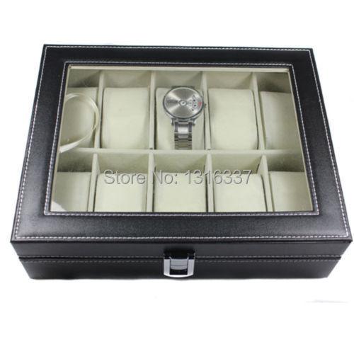 Watch Leather Box Glass Top Display Lockable Jewelry Organizer Storage Case(China (Mainland))