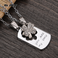 2pcs lot Clover Love 2016 New Couple Lovers Pendant Necklaces For Women s and Men s