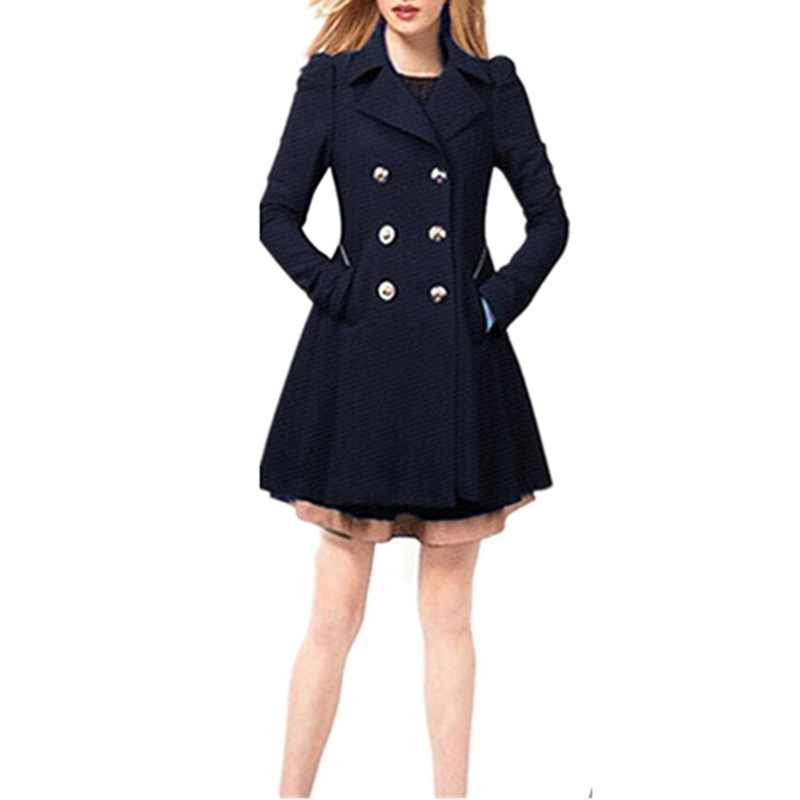 2015 Women Femininas Winter Warm Jacket Overcoat Fashion Long Sleeve Wool Coat Slim Double Breasted Long Design Outerwear(China (Mainland))