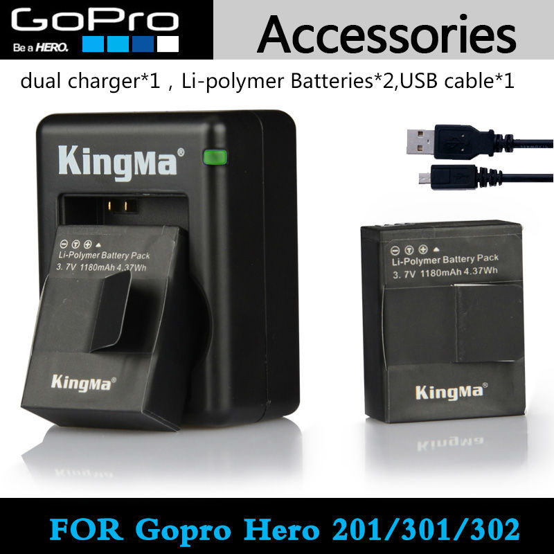2pcs Kingma 1180mah Battery And Dual Charger And USB Cable For Gopro Hero