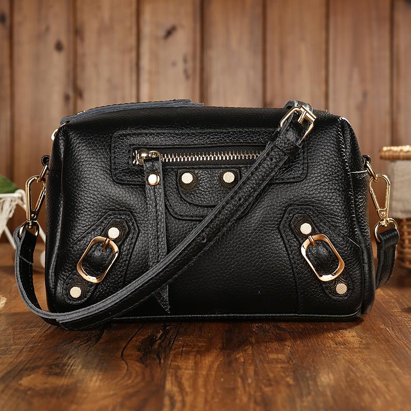 New black color women leather handbags casual women messenger bag crossbody ladies Head layer cowhide small shoulder bag<br><br>Aliexpress