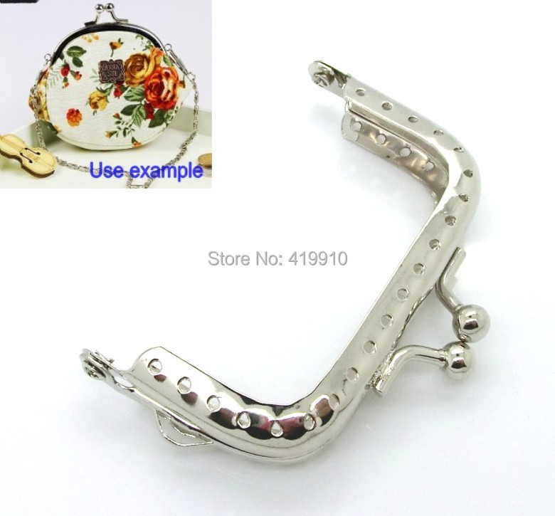 Free Shipping-5pcs Silver Tone Metal Frame Kiss Clasp For Purse Bag 6.8x5.2cm(Can Open Size:9.8x6.8cm) D0101(China (Mainland))